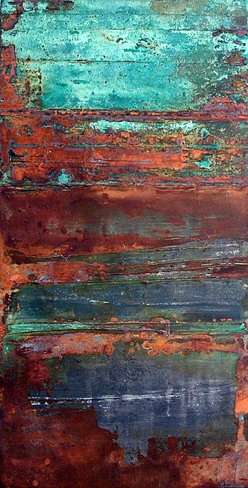 Rust turquoise and texture on pinterest for What are the different types of painting techniques