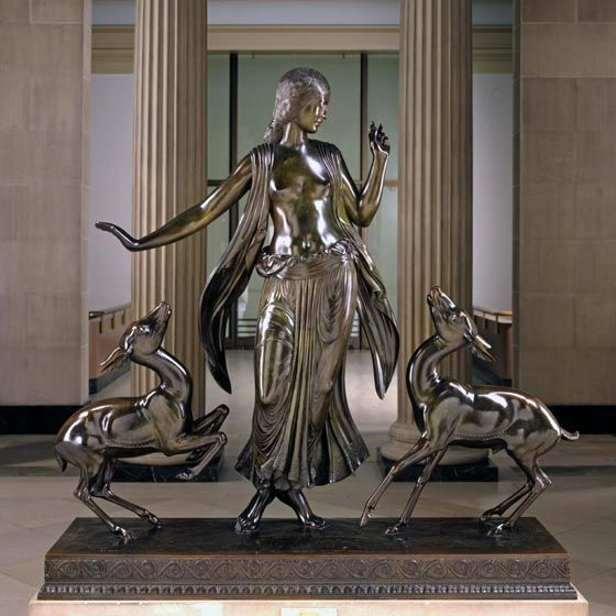 Paul Manship (American, 1885–1966), Dancer and Gazelles. Bronze, modeled 1916, cast 1922. 72 by 73 ½ inches. Libbey Court, Toledo Museum of Art.