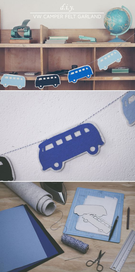"""Looking for new DIY decoration? Have a look at this simple tutorial that shows how to create a VW campervan garland. Visit """"DIY bloggers for Volkswagen"""" for more inspiration: http://www.pinterest.com/volkswagen/diy-bloggers-for-volkswagen"""