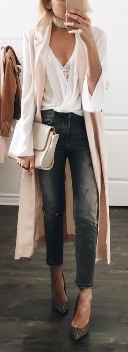 #fall #outfits / nude oversized cardigan + v neck blouse