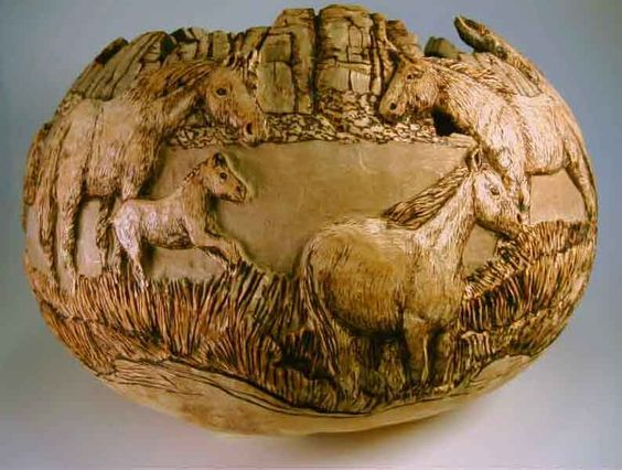 Pyrography patterns carved horses gourd art