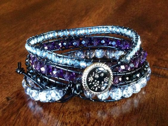 Hey, I found this really awesome Etsy listing at https://www.etsy.com/listing/171932341/crystal-bead-black-leather-wrap-bracelet