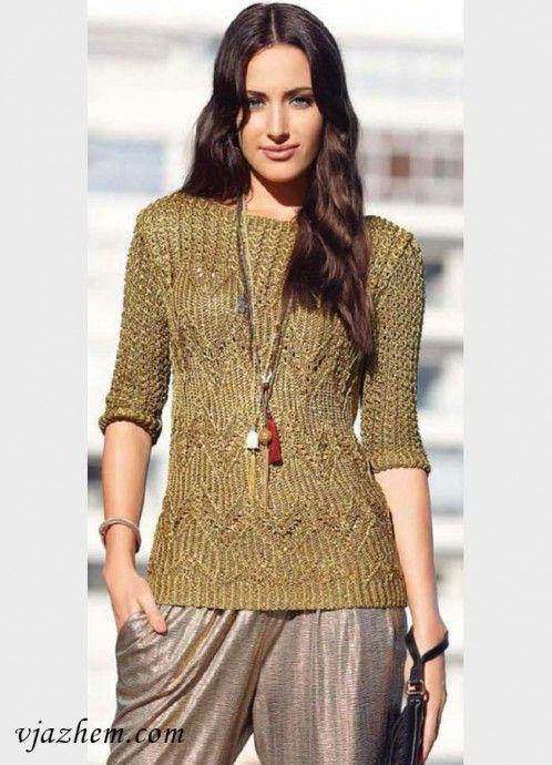 Стильный пуловер болотного цвета