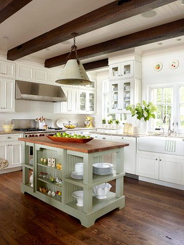 Great kitchen...love the beams and rustic island.