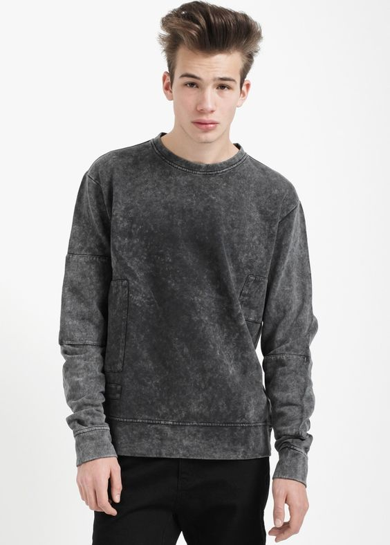 Tourne de Transmission Panel Sweater Washed Black | COUTIE