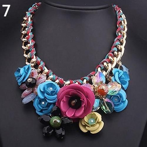 Statement Necklace Fashion Necklace Rhinestone Necklace Beaded Necklace flower necklace Choker Necklace Bib Necklace
