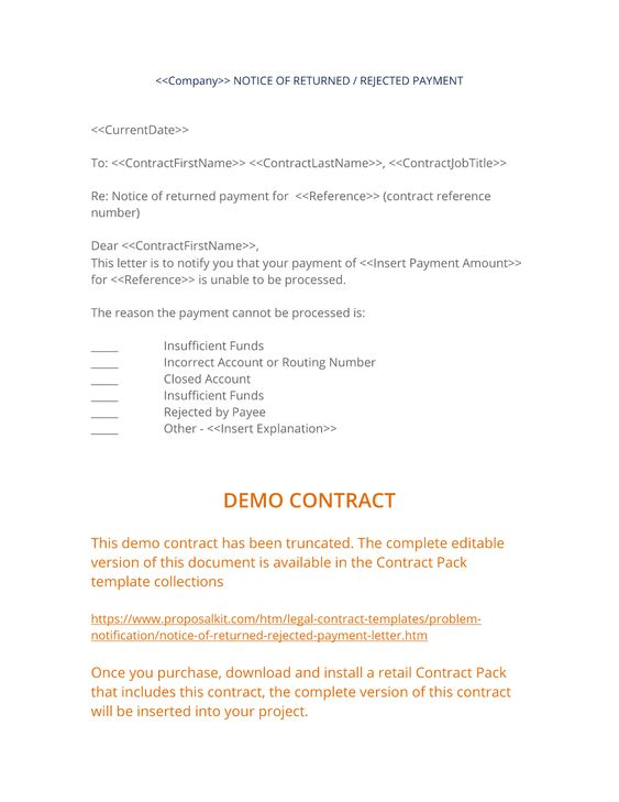 insufficient funds letter - Apmayssconstruction