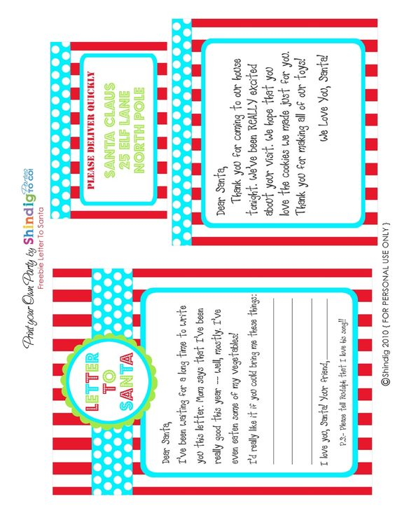 Shindig Parties Freebie Letter to Santa | Scribd