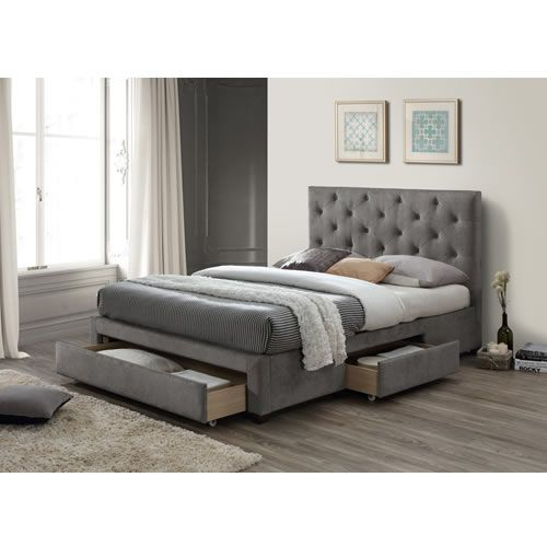 Monet Fabric Storage Bed Upholstered Bed Frame Upholstered Beds Grey Upholstered Bed