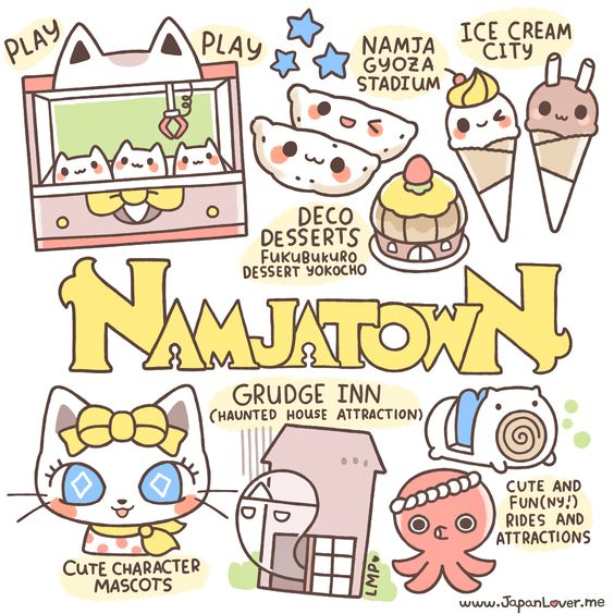 """Namco Namja Town is an indoor theme park in the Sunshine City shopping complex in east Ikebukuro, Toshima, Tokyo, Japan."" Namja Town is one of the most must-visit Japanese theme parks in our list! (=ↀωↀ=)✧ Lots of cute and fun stuff to do, play with, take photos of, and eat!  Sharing the Worldwide JapanLove ♥ www.japanlover.me ♥ www.instagram.com/JapanLoverMe Art by Little Miss Paintbrush"