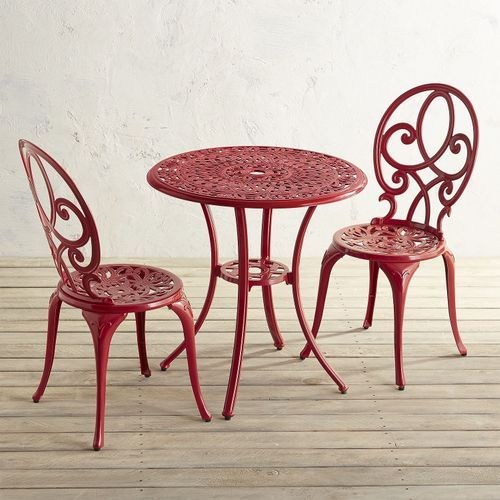Dahlia Red Cast Aluminum Bistro Set Pier 1 Imports Patio Decor