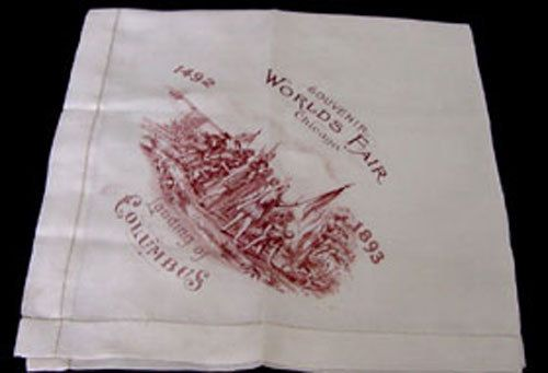 Columbus Silk Hankie for Worlds Fair Chicago. Dated by chalcroft, $28.00