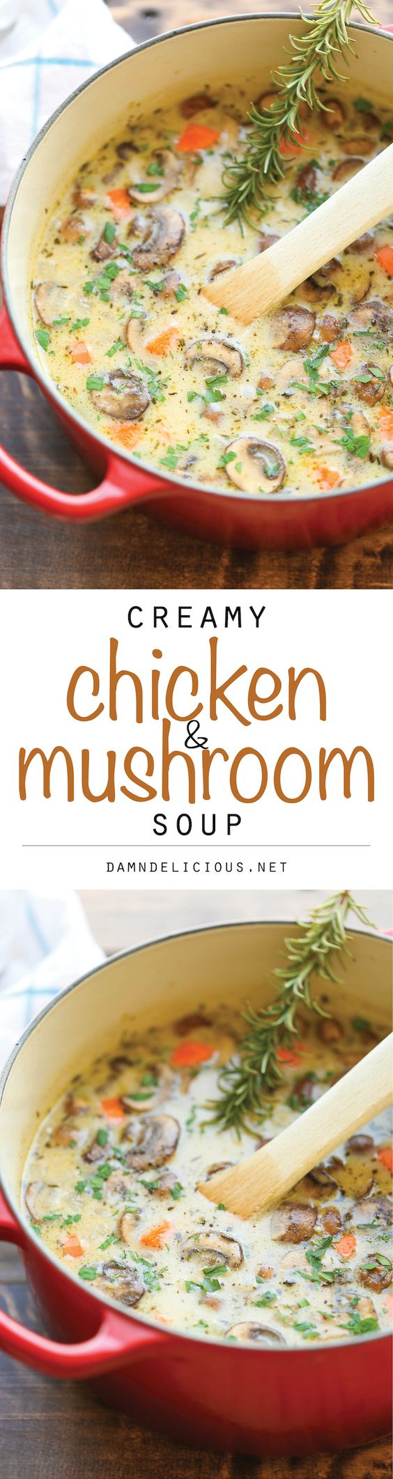 Creamy Chicken and Mushroom Soup - So cozy, so comforting and just so creamy. Best of all, this is made in 30 min from start to finish - so quick and easy!: