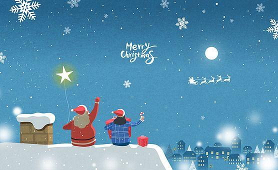 일러스트 크리스마스 백그라운드 연말 12월 겨울 눈 날씨 계절 눈결정 풍경 경치 사람 남자 여자 산타클로스 두명 지붕 별 마을 밤 시간 주택 카드 우편 크리스마스 카드 카드 크리스마스 포스터