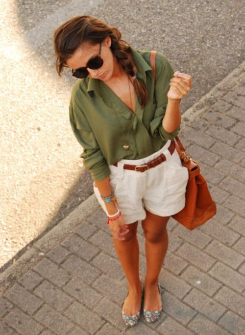 <3: Summer Fashion, Olive Green, White Shorts, Summer Style, Dream Closet, Cute Outfits, Spring Summer, Dreamcloset, Summer Outfits