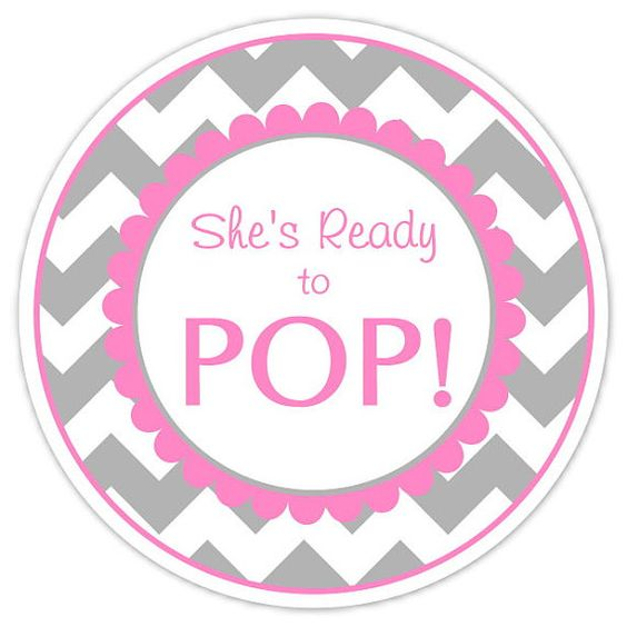 Baby shower ready to pop labels gray chevron and pink ready to pop stickers baby shower for Ready to pop tags