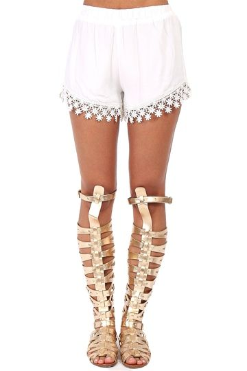 White Lace Trim Flowy Shorts at Blush Boutique Miami - ShopBlush ...