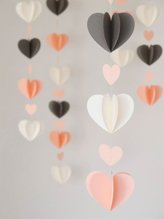 DIY Paper Heart Garlands