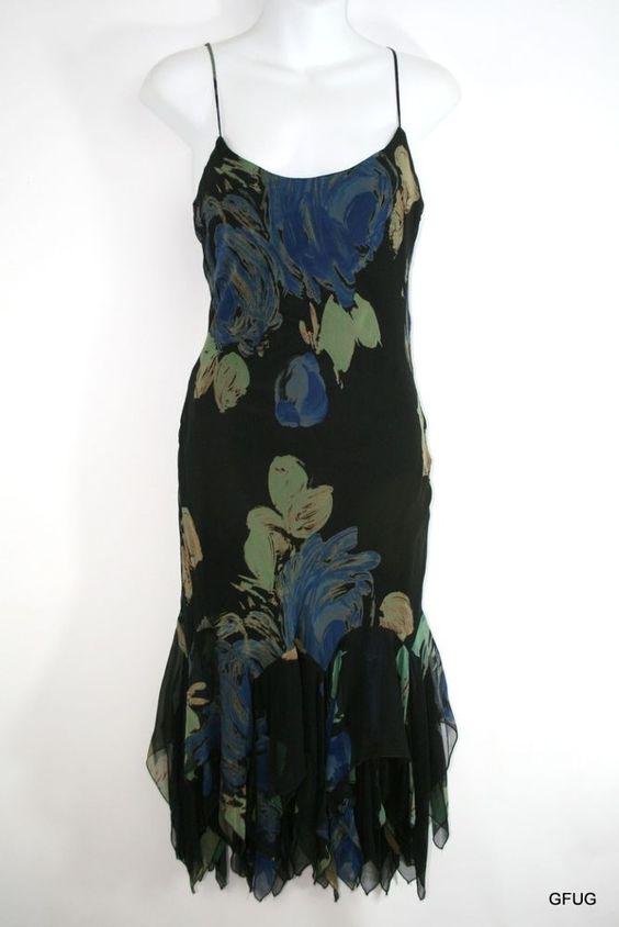 BETSEY JOHNSON Sz 8 Black Blue Art Print Silk Asymmetrical Hem Dress Strappy #BetseyJohnson #AsymmetricalHem