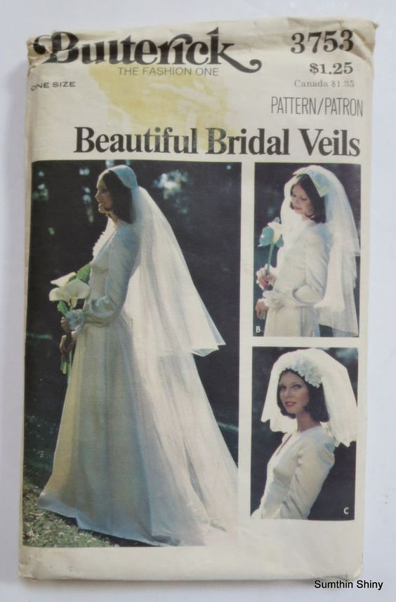 Butterick Sewing Pattern 3753 Bridal Headpiece and Veil One Size Uncut FF Vtg