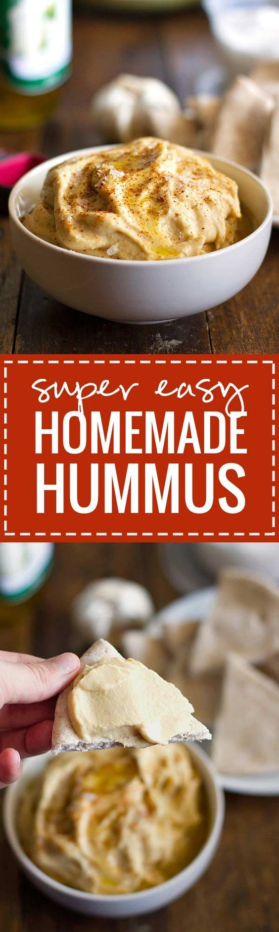 Super Easy Homemade Hummus - This hummus is simple and blended with fresh ingredients | pinchofyum.com:
