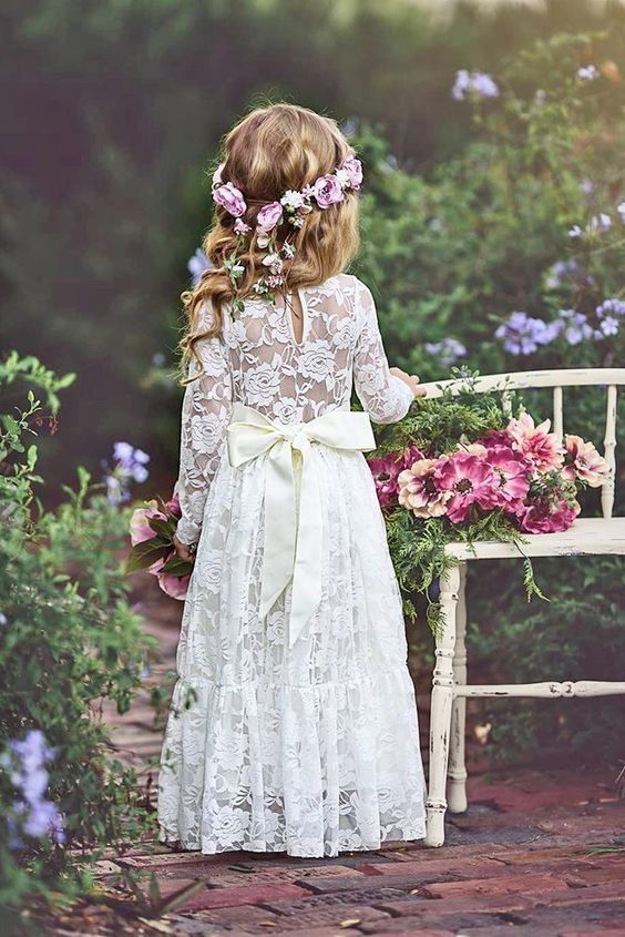 Rustic Vintage Flower Girl Lace Wedding Birthday Party Princess Dress for Kids