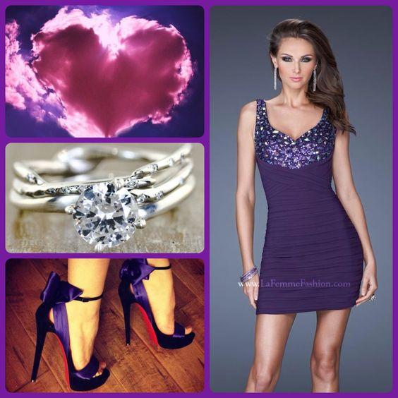 La Femme style 19507 eggplant - purple dress - short purple prom