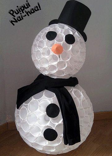 Navidad manualidades con vasos de pl sticos se puede - Manualidades con vasos de plastico ...