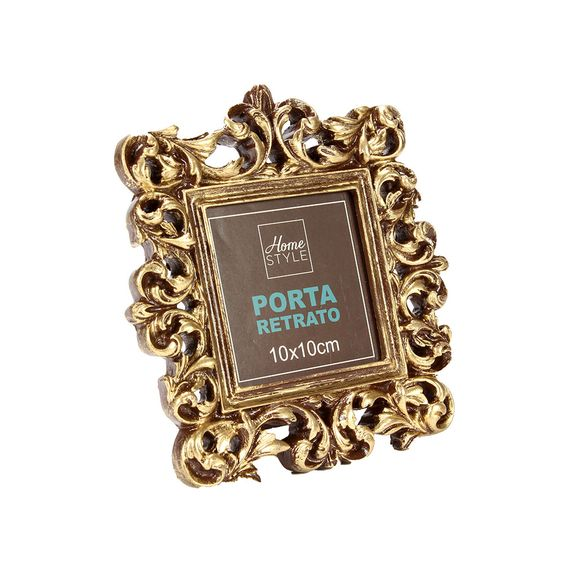 Porta-Retrato Gold Glam Dourado 10x10cm - Home Style