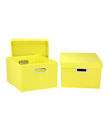 Take a look at this Yellow Storage Box - Set of Two by Household Essentials on #zulily today!
