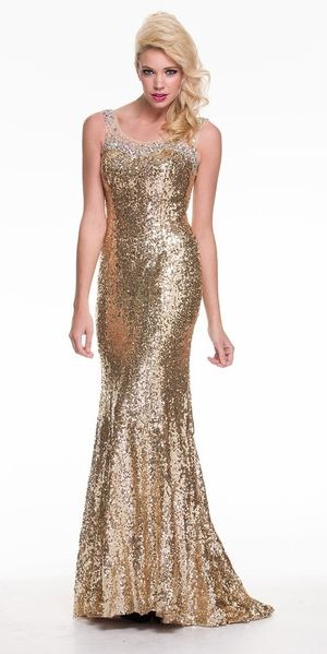 Classy Long Gold Sequins Dress Wide Straps Sleeveless Round Neck ...