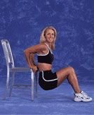 Chair Dips work a variety of muscles in your arms, thighs and butt!