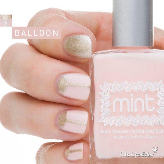 "On reste dans le Oui oui oui ;-) avec ce joli rose dragée ""I DO"" de Mint, customisé avec LIQUID GOLD de Kiko… http://www.cakoapaillettes.fr/blog/balloon/"
