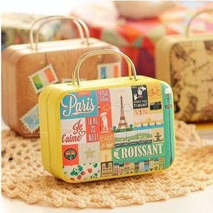 Pas cher New Creative' voyage autour du monde » Vintage portable boîte de rangement d'étain / 6 style mignon valise boîte de bonbons / bijoux / boîte médecine, Acheter  Boîtes de Rangement de qualité directement des fournisseurs de Chine:                                                                     Description: