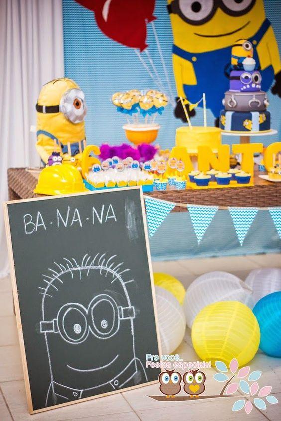 Decoração párrafo Festa Infantil Minions