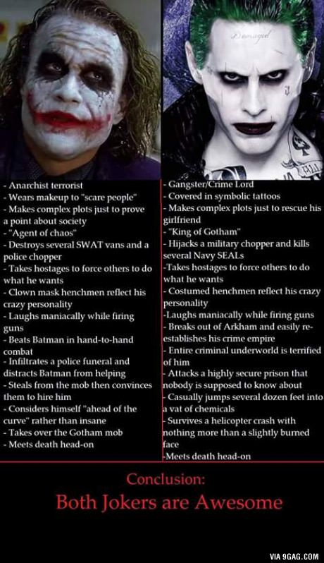 There is no bad Joker! I think both the scripts have been written very interesting, and the actors have both been working like crazy to become the Joker, which they did awesomely!!!  So thank you, story writers and actors for being so wonderful.