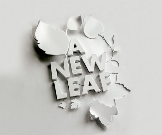 A New Leaf / Shaz Madani #type #lettering **loving this treatment **: Paper Cut, 3D Paper, Paper Craft, Typography Design, Paper Sculpture, Paper Design, Arctic Newleaf, Papercut Typography