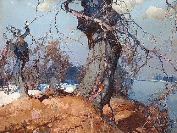 "Stepan Kolesnikov (1879-1955), Gouache ""Winter Landscape"", 1941"