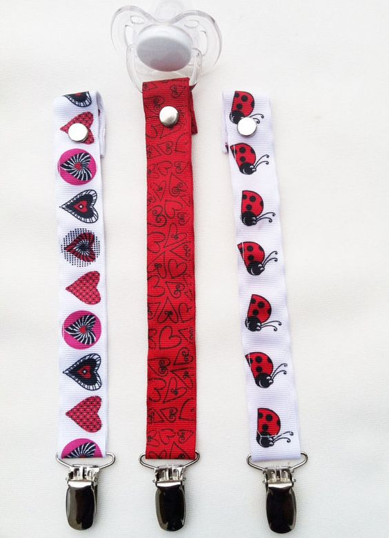 NEW Red Hearts & Ladybugs Pacifier Clips  Set of 3 by JordansGallery, NEW