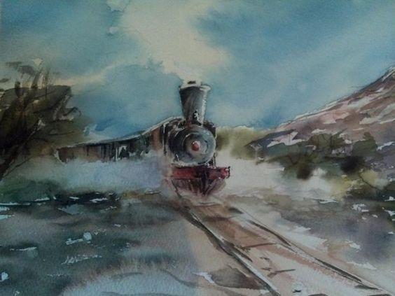 """Locomotora """"La Copiapó"""" pasando por Piedra Colgada. Pintado por el pintor copiapino Juan Carlos Aguirre Carrasco."""