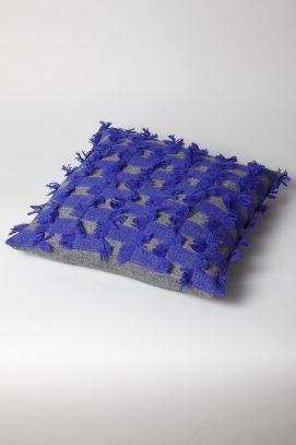 OYUNA London / Seren Cushion Cover in Slate Grey and Ultramarine Blue