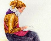 "5x7 print 4x6 woman art print ACEO ""A Reading Girl in Milan"" wall art painting wall deco print (44)  $6"
