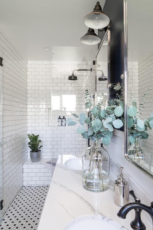 Black Vintage Barn Sconces Light A Navy Blue And White Bathroom Featuring Rectangular Pivot Mirr White Bathroom Farmhouse Bathroom Decor White Bathroom Designs