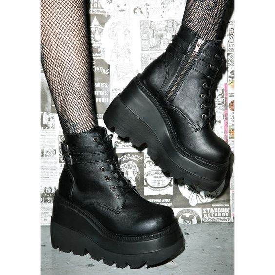 Demonia Technopagan Boots (£48) ❤ liked on Polyvore featuring ...