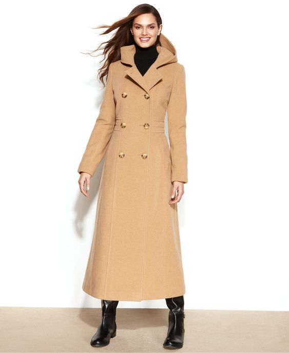Anne Klein Petite Double-Breasted Wool-Blend Hooded Maxi Coat