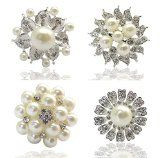 4px Bundle Womens Fancy Vintage Clear Crystal Pearl Brooches Flower Fashion Brooch Pin Mixed Lot Wedding Decor