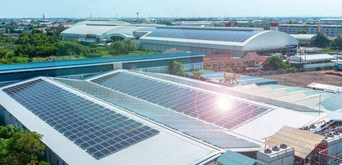 Solar Panels Or Solar Cells On Factory Rooftop Or Terrace With Sun Light Industry Affiliate Cells Factory Solar Panels Best Solar Panels Solar Roof