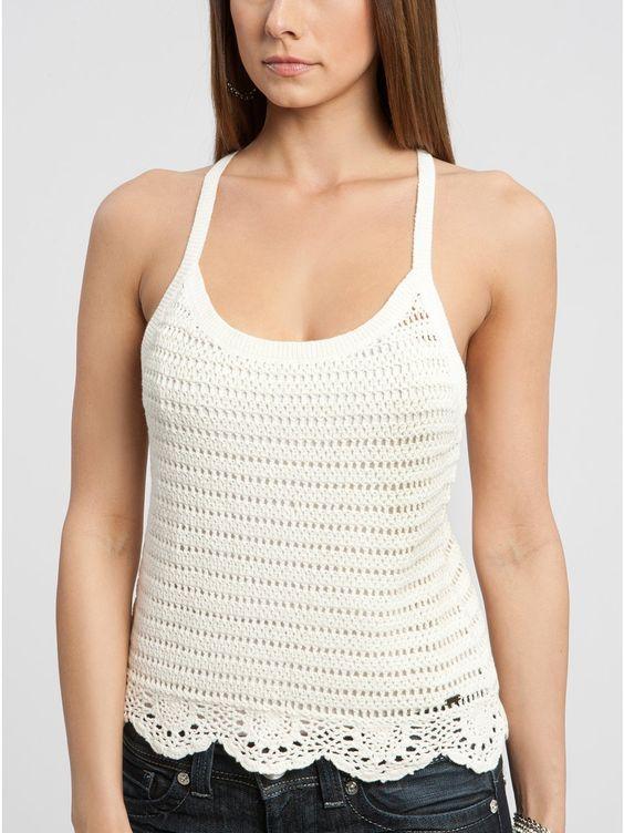 Crochetemoda: top blanco de ganchillo