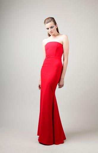 Michelle Mason - Corset Gown - Red Viscose Blend