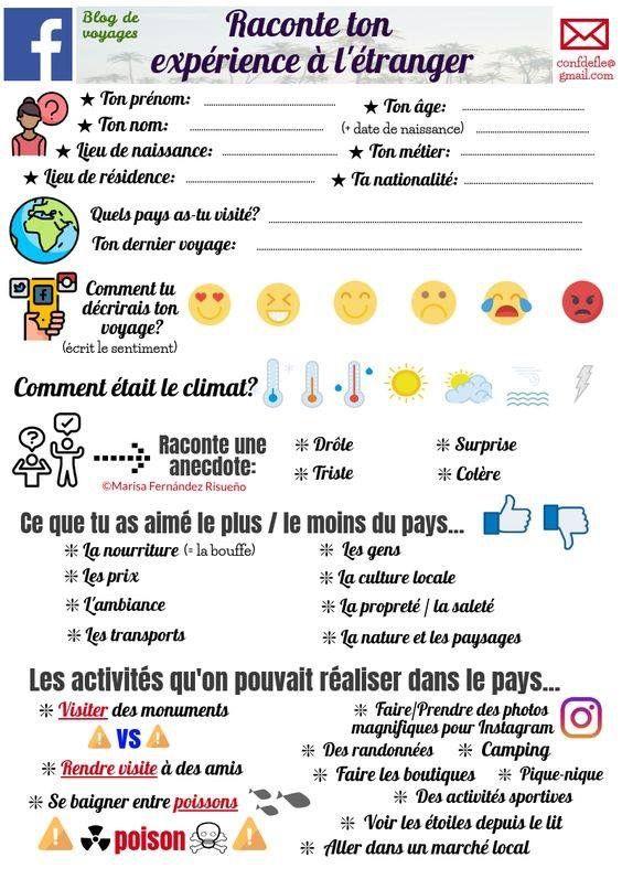 Raconter Une Experience A L Etranger Apprendre Le Francais Exercices De Vocabulaire Enseignant Fle